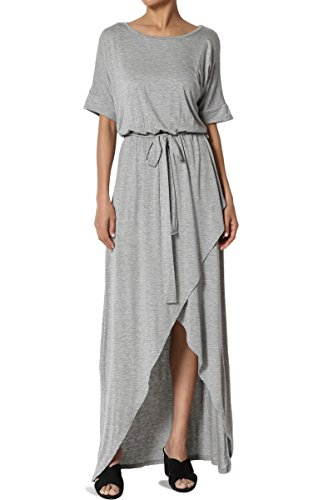 TheMogan Women's Boat Neck Dolman Sleeve Blouson Wrap Maxi Dress Heather Grey (Sleeve Blouson Dress)