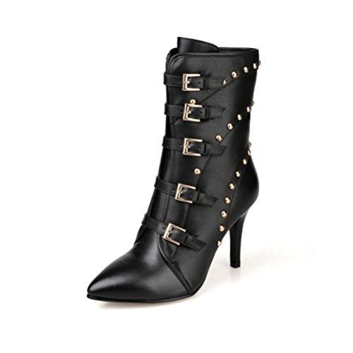 manuelle Quaste Reißverschluss Heels große benutzerdefinierte kurze Schuhe Stiefel High seitlichem wies Rivet Metall feine Damen echtes QPYC Leder Größe Gürtelschnalle 5qzTTf