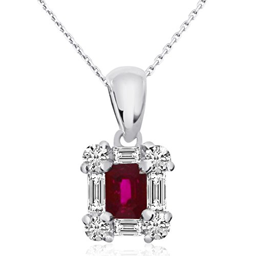 0.25 Carat (ctw) 14k White Gold Baguette Red Ruby and Diamond Women's Framed Pendant with 18