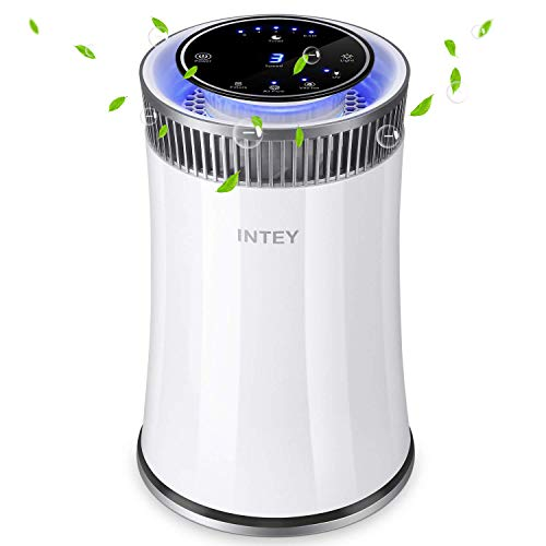 INTEY for Home and Office with True HEPA Filter, Cleaner for Allergies and Pets, Dander, Odors, Smokers, Mold, Dust, Pollen, Germs with 5 Timer, 5 Speed, UV Air Sanitizer, 6.8815.27in