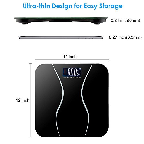 Scale Digital Precision Sensor Gram kg/lb/st Electronic LCD Step On Bathroom Vintage Portable Body Weight With Battery (Weight Best 2014 Scales)