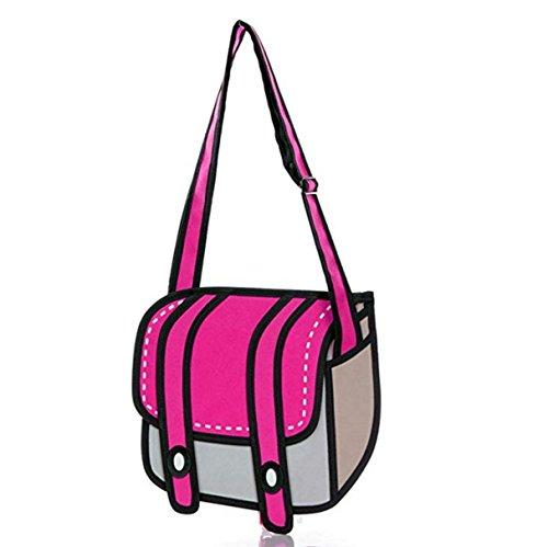 ANKKO 3D Style Drawing Cartoon Messenger Bag Women Crossbody Bag (Rose - Bags Cartoon Flat