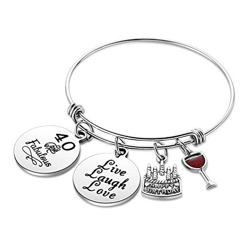 (Nimteve Birthday Gifts for Her Expandable Bangle Birthday Bracelets for Women Charm Bracelet Happy Birthday Jewelry Gift Ideas (40th Birthday))