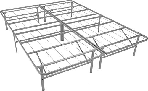 Glenwillow EZ-Fold Premium Platform Bed Base in Silver, Fits California King Mattress, Foldable, Replaces Box Spring and Bed Frame, Room for Storage Underneath, No Tools Required