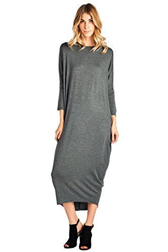 Charcoal Cover S 2X Solid Made in Maxi Dress Long Up 12 USA Ami Sleeve WOnwIW1Tq