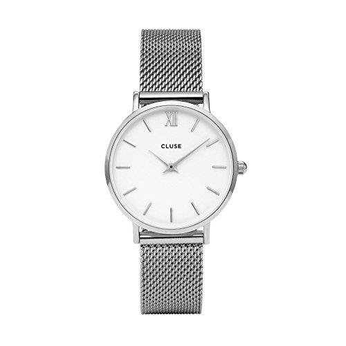 Cluse Minuit Mesh Silver/White Damenuhr CL30009