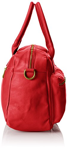 Rosso main à la véritable Italy à et Made en femme Sac in CTM 36x26x15cm 100 Rouge cuir d'épaule Tg5EwSPq