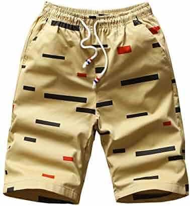 0a82aa1c418432 Heart Yuxuan Mens Causal Beach Shorts with Elastic Waist Drawstring Classic  Summer Shorts