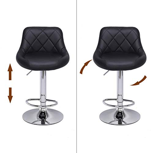 - TomaticAu 2pcs Adjustable High Type with Disk No Armrest Rhombus Backrest Design Bar Stools Black Coffee Chair Sofa Soft Stool That can be Placed in a Barber Shop