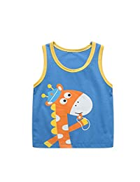 FCQNY Toddler Boys Summer Tank Top with Cute Giraffe Printing and Round Collar Design Kids Casual Playwear Daily Outfit (Color : Giraffe, Size : 66cm)