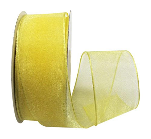 (Ribbon Bazaar Wired Sheer Organza 1-1/2 inch Canary 25 Yards Ribbon)