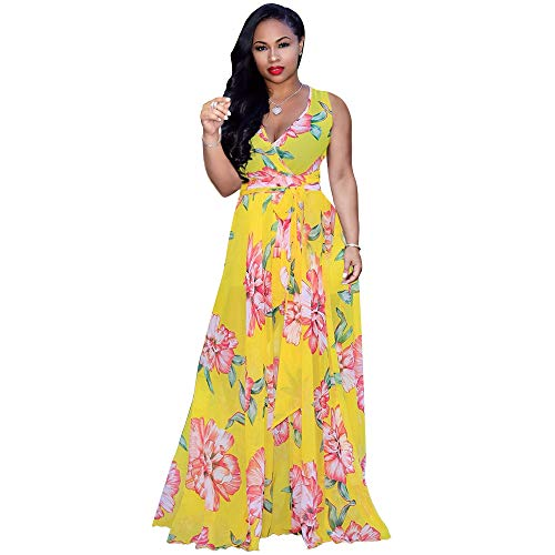 Nuofengkudu Womens Chiffon V-Neck Printed Floral Maxi Dress Sleeveless Dresses High Waisted Belt Plus Size (Yellow)