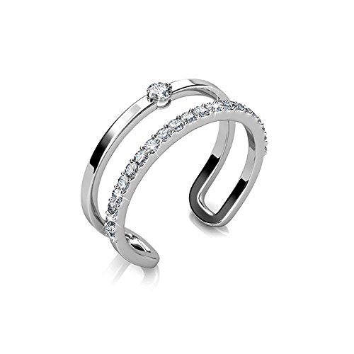 Cate & Chloe Esme Esteemed 18k White Gold Plated Knuckle Ring with Swarovski Crystals, Unique Adjustable Rings, Twilight Sparkle Stackable Rings, Trendy Fashion Statement Promise Ring - MSRP $135
