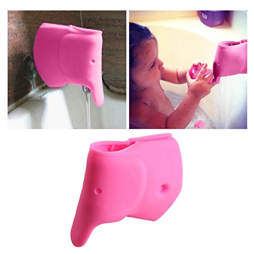 (iHomeGarden Bath Spout Cover - Bathtub Faucet Cover for Kid - Bath Tub Faucet Extender Protector For Baby - Silicone Soft Spout Cover Baby Pink Elephant - Child Bathroom Cute Accessories)