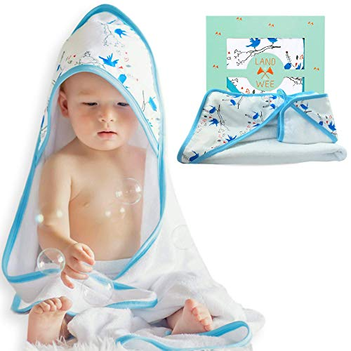 (Extra Soft Hooded Baby Bath Towel & Washcloth Set | Hypoallergenic & Organic Bamboo 2X Softer & More Absorbent Than Cotton | Perfect Towel with Hood for Newborn Infant to)