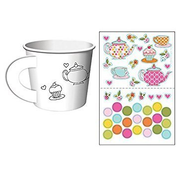 Tea Party Sheet - Tea Time Tea Party Decorate Your Own Favor Cups (Value 2-Pack: 12 ct)