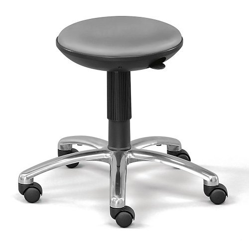 Silver Gray Polyurethane Adjustable-Height Rolling Stool with Memory Foam Seat - NBF Signature Series Easy ()