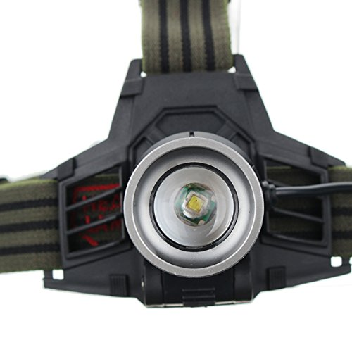 2000 LM 3 modos ajustable Zoomable LED linterna frontal 2x18650