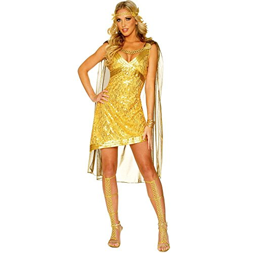 Golden Goddess Costume - Medium - Dress Size 8-10 (Greek Goddess Sandals)