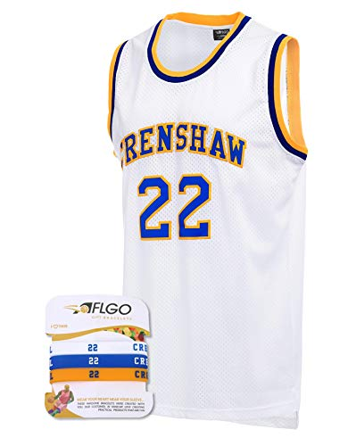 AFLGO Omar EPPS Quincy McCall 22 Crenshaw High School White Basketball Jersey Include Set Wristbands S-XXL (White, ()