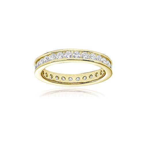 Yellow Gold Flashed Sterling Silver Cubic Zirconia Round 2mm Channel Set Polished Eternity Band Ring, Size 9