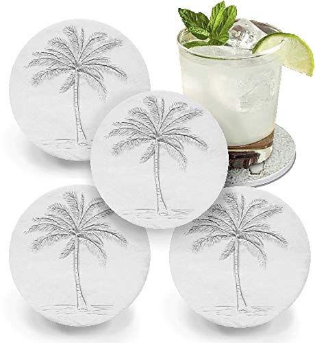- Drink Coasters by McCarter Coasters, Palm Tree, Absorbent, Light Beige 4.25 inch (4pc)
