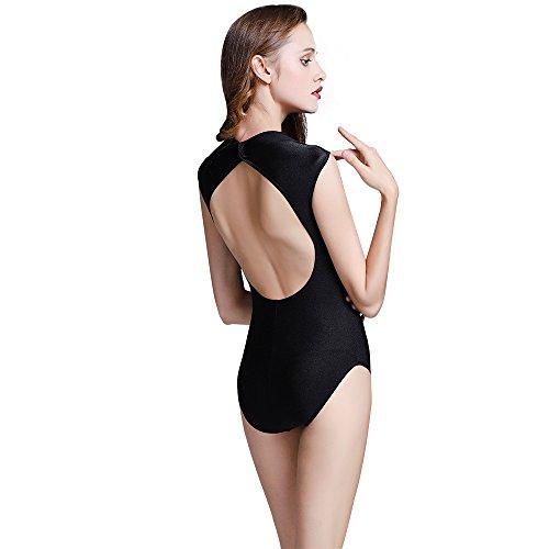 Lenefu Womens High Neck Nylon Spandex Ballet Dance Sleeveless Leotards and Open Back Yoga Gymnastics Bodysuit (Small)