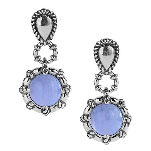 Carolyn Pollack Sterling Silver and Blue Lace Agate Drop Earrings