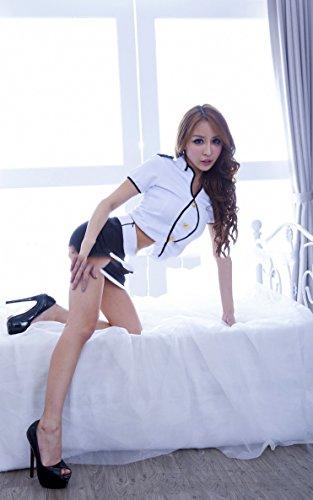 DSC Sexy Dessous weibliche Stewardess Uniformen Rollenspiele Exposed Milch Versuchung Anzug