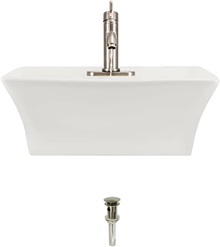V150-Bisque Porcelain Vessel Sink Brushed Nickel Ensemble with 753 Vessel Faucet Bundle – 3 Items Sink, Faucet, and Pop Up Drain