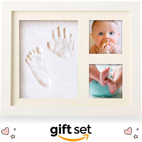 Baby Picture Frame, Baby Footprint Kit, Gift Set for your Registry for Baby Shower, Hassle-Free Photo Cropping with Our Unique App, IMPROVED Clay for Boy or Girl Handprint Keepsake Frame, NO CRACKS]()