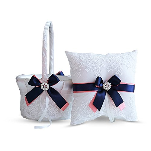 Alex Emotions Ivory Ring Bearer Pillow and Basket Set | Lace Collection | Flower Girl & Welcome Basket for Guest | Handmade Wedding Baskets & Pillows (Coral Navy Blue) ()