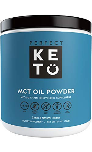 Perfect Keto MCT Oil Powder: Ketosis Supplement (Medium Chain Triglycerides, Coconuts) for Ketone Energy. Paleo Natural Non Dairy Ketogenic Keto Coffee Creamer (Unflavored)