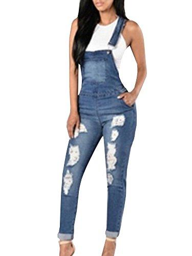 Ferbia Women's Casual Adjustable Denim Hole Pants Jeans Jumpsuit Bib Overalls Jeans (Denim Jean Bib)