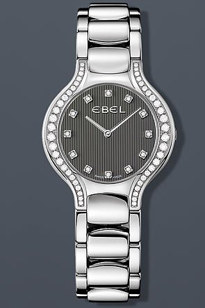 Ebel Beluga Lady Diamond 30.5 mm Watch - Grey Dial, Stainless Steel Bracelet 1215856