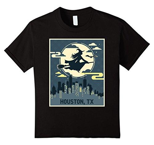 [Kids Houston Texas Witch Halloween Night T-shirt 10 Black] (Party Boy Houston Halloween Costumes)