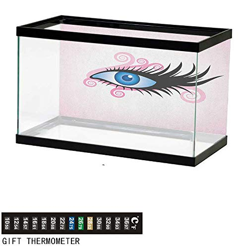 Jinguizi EyeFish Tank BackdropFantastic Gaze of a Woman in Graphic Style with Swirls Black Lashes on Pink72 L X 24