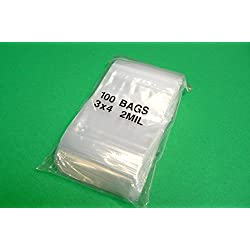 "100 ZIPLOCK Bags 3x4 Clear Poly BAG RECLOSABLE 100 Baggies 2Mil 3""x4"" ZIP LOCK (E 3)"