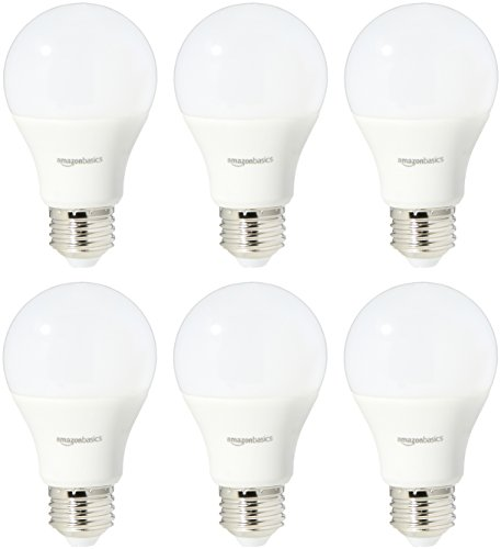 AmazonBasics 40 Watt Equivalent, Soft White, Dimmable, A19 LED Light Bulb | 6-Pack