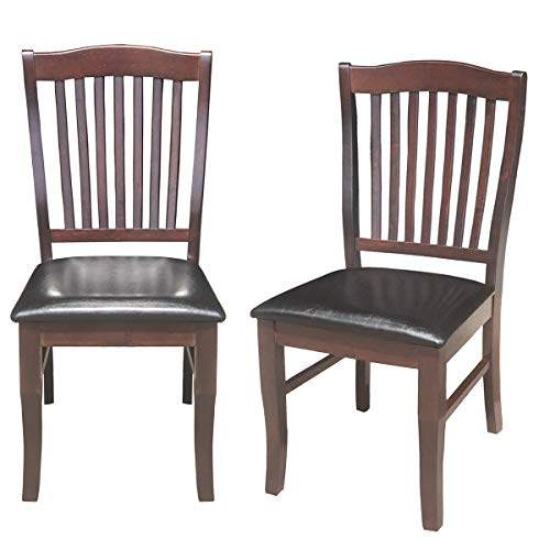 "Cheap Giantex Set of 2 Dining Chairs Wood Armless Chair Home Kitchen Dining Room High Back Chairs w/PU Leather Padded Seat (17.5""×21""×40″(W×D×H), Dark Brown)"
