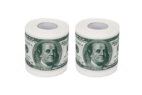 SummitLink 2 Rolls $100 Hundred US Dollar Bill Toilet Paper Tissue Napkin Prank Fun Birthday Party Novelty Gift Idea (Dollar Toilet Us Paper)