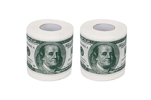 SummitLink 2 Rolls $100 Hundred US Dollar Bill Toilet Paper Tissue Napkin Prank Fun Birthday Party Novelty Gift Idea (Us Dollar Paper Toilet)
