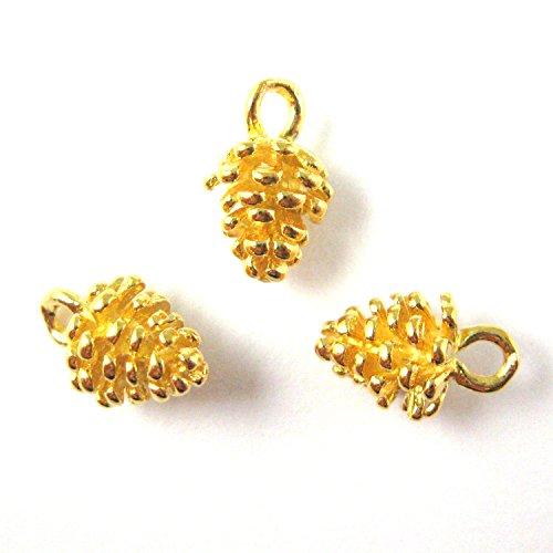 22K Gold Vermeil Sterling Silver Charm - Pine Cone Charm - Gold Pinecone Charm (11mm-2 pcs)