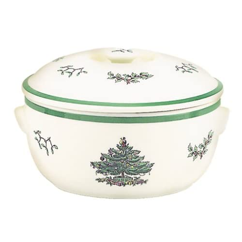 Spode Christmas Tree Round Covered Deep Dish Casserole