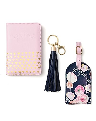 Chic Luggage Tags - Gartner Studios Pink and Floral Travel Set