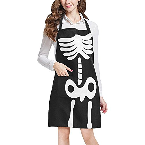 InterestPrint Funny Human Skeleton Anatomy Halloween Black Decor Chef Kitchen Apron, Adjustable Strap & Waist Ties, Front Pockets, Perfect for Cooking, Baking, Barbequing, Large Size]()