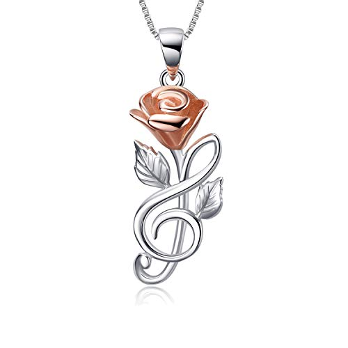 Rose Pendant Necklace Sterling Silver Hypoallergenic 3D Rose Flower Leaf Infinity Musical Note for Women Girls(Rose Pendant Necklace) ()