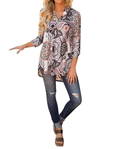 Blusa Grey Stampa Donna Neck Fashion 3 Grazioso Vintage Tops V Camicetta Allentato Autunno Baggy Shirt 4 Primaverile Fiore Manica Eleganti Tunica TwRWwqpgf