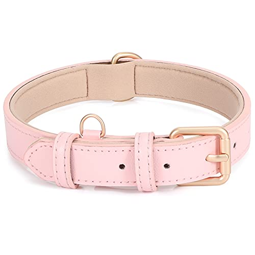 Leather Dog Collar Adjustable Soft Leather Padded Collar Heavy Duty for Small Medium Large Size Dogs with Alloy Buckle(Pinl,M)