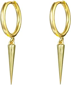 Minimalist Spike Dangle Drop Hoop Earrings for Women Girls Men Sterling Silver Charms Hoops Cuff Cartilage Stud Tragus Helix Wrap Geometric Hypoallergenic Fashion Personalized Punk